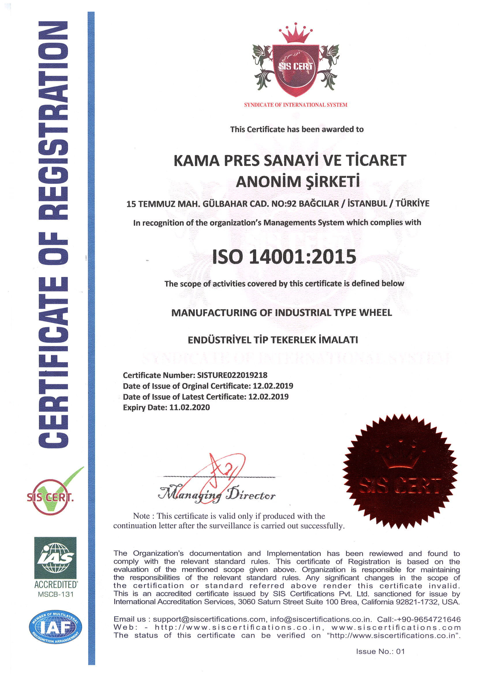 İSO 14001:2015