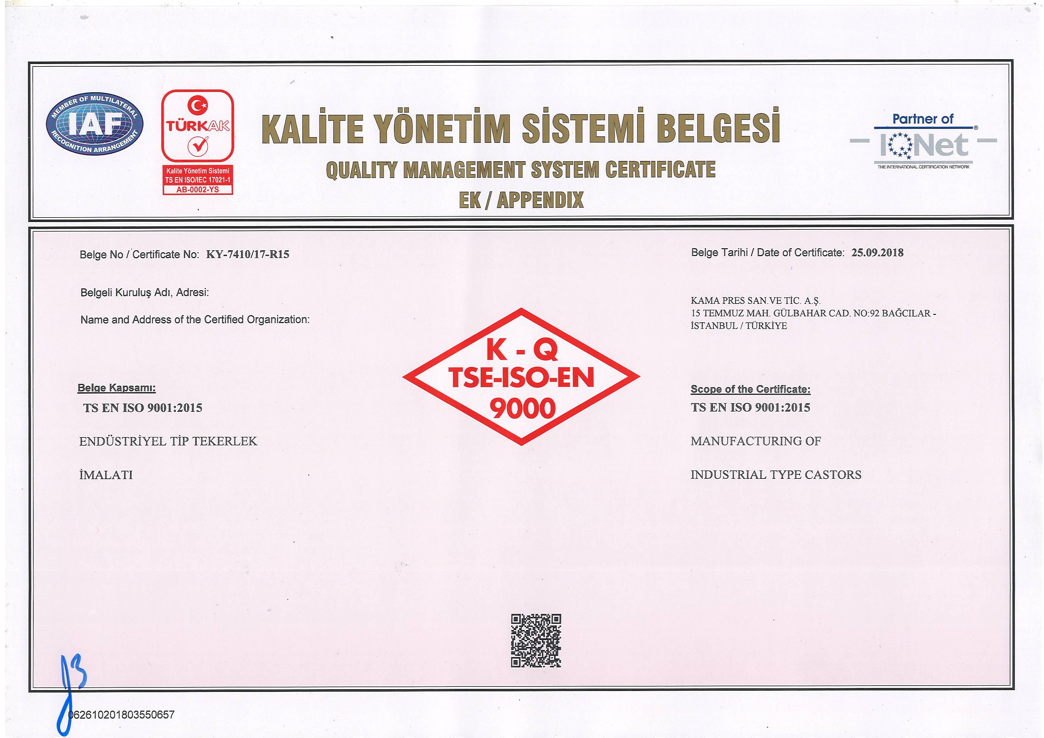 Kalite Yönetim Sistemi Belgesi Ek
