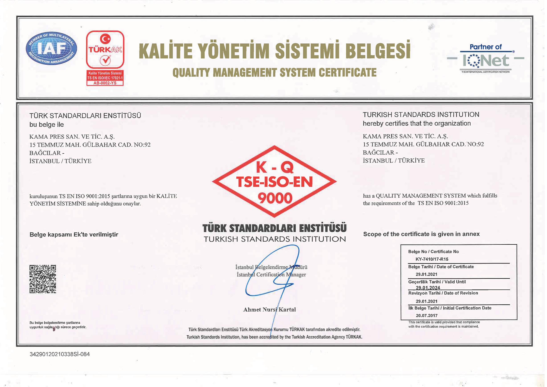 Kalite Yönetim Sistemi Belgesi